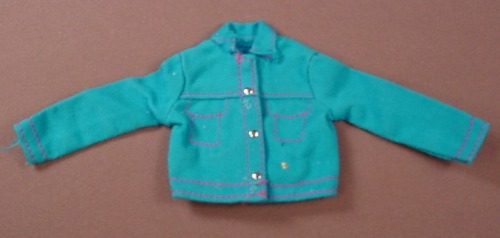 Barbie Blue Denim Long Sleeved Style Shirt With Red Stitching & Silver Buttons, Jacket, Has Pink B