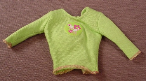 Barbie Lime Green Long Sleeved Shirt Or Sweater With Pink & White Flowers In A Circle, Has Pink B