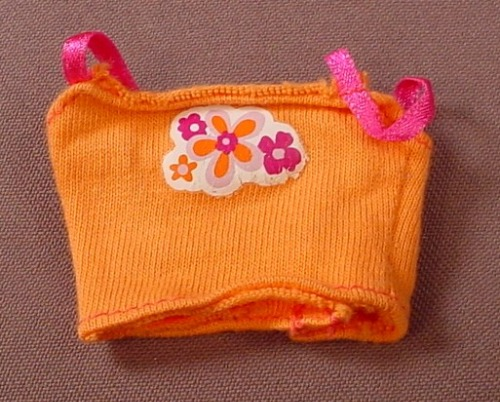 Barbie Orange Top With Purple Straps & Flowers, Has The Pink B Tag, Mattel