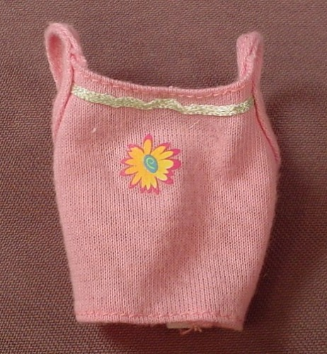 Barbie Pink Halter Or Camisole Top With Yellow Flowers, Has The Pink B Tag, Mattel
