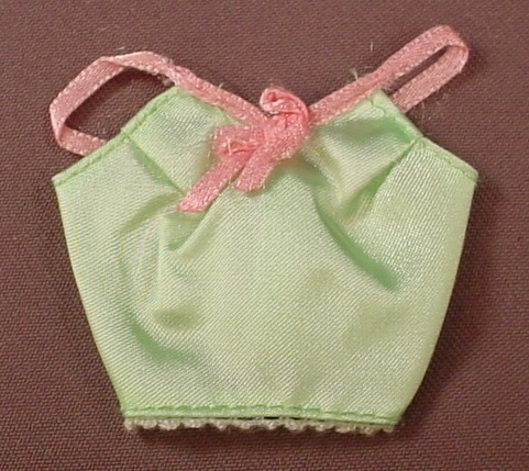 Barbie Satiny Green Halter Or Camisole Top Or Shirt With Pink Straps & Bow, Has The Pink B Tag