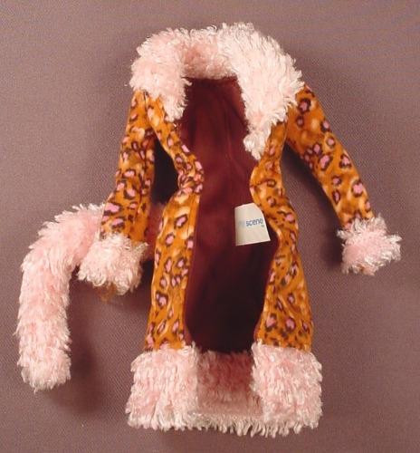 Barbie My Scene Leopard Print Coat With A Pink Faux Fur Tail, Cat's Tail Barbie, Mattel