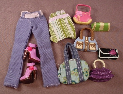 Barbie My Scene Shopping Spree Kenzie C1254 Outfit, 6 Purses, Pair Of Shoes, 2004 Mattel