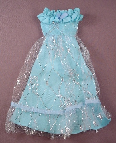Barbie Doll Size Blue Gown Or Dress With Clear Over Skirt, Has An La Gear Tag