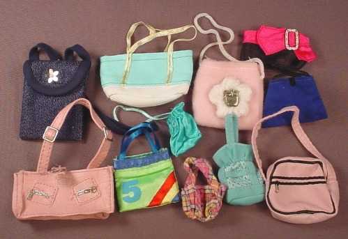 Barbie Doll Size 11 Piece Lot Of Purses Or Handbags, Cloth Or Fabric
