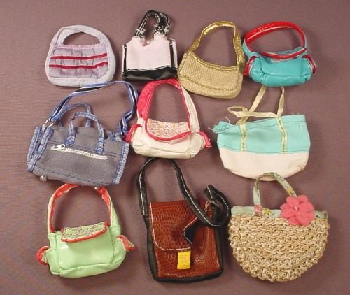 Barbie Doll Size 10 Piece Lot Of Purses Or Handbags, Cloth Or Fabric
