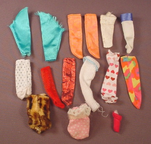 Barbie Doll Size Lot Of Socks & Gloves, 2 Pairs, The Rest Are Singles