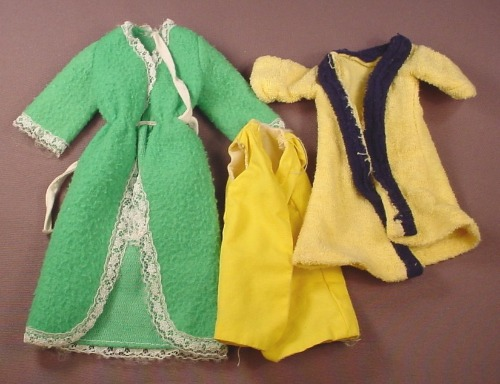 Barbie Doll Size 3 Piece Lot Of Housecoats Or Bath Robes