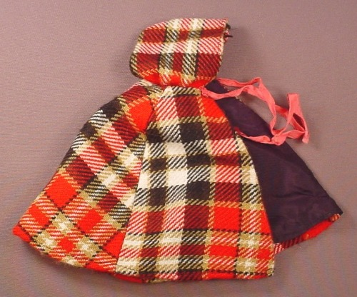 Barbie Doll Size Red Plaid Cape With A Hood & Ties