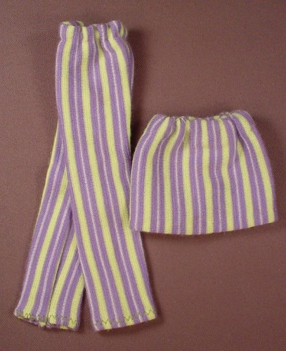 Barbie Doll Size Lime Green & Purple Striped 2 Piece Outfit