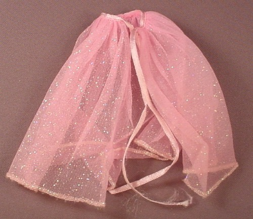 Barbie Doll Size Sheer Pink Skirt Or Wrap With Ties, Glittery, Negligee