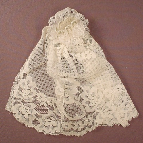Barbie Doll Size White Lace Negligee Wrap Or Cape, Stiff Collar With A Silver Pattern