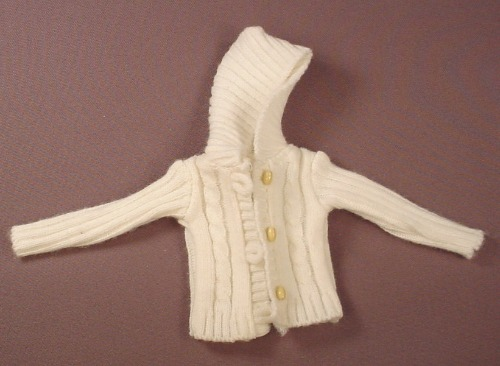Barbie Doll Size White Hooded Cable Knit Sweater With Toggle Buttons