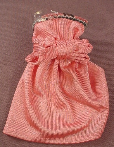 Barbie Doll Size Pink Dress Or Skirt With A Bow In The Front, Has Clear Plastic Straps