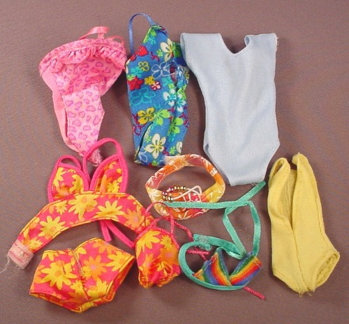 Barbie Doll Size 9 Piece Lot Of Bathing Suits, Tops Bottoms One-piece