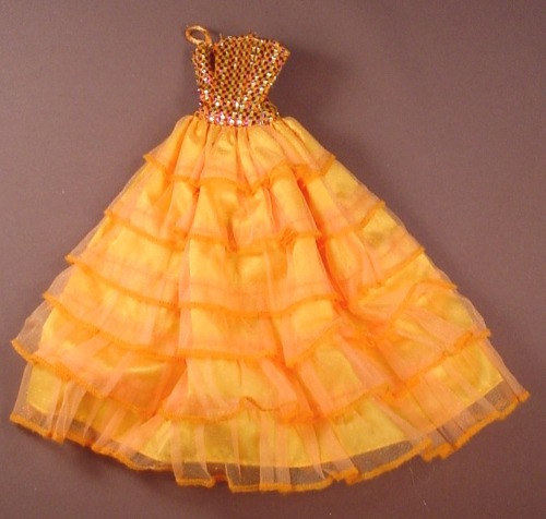Barbie Doll Size Orange Gown With Sheer Ruffled Over Skirt, Sparkly Top With Spaghetti Straps