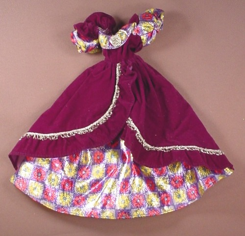 Barbie Doll Size Velvety Purple Gown With Silver Trim, Shiny Print Lining