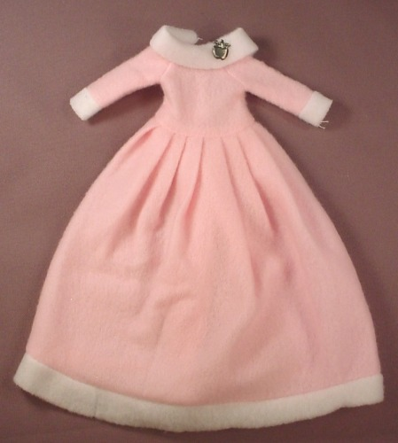 Barbie Doll Size Pink Soft Gown With White Trim