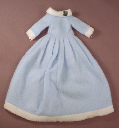 Barbie Doll Size Powder Blue Soft Gown With White Trim