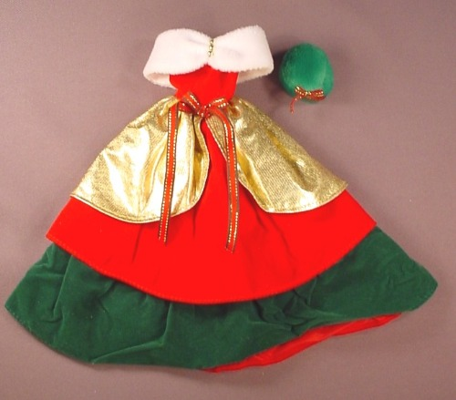 Barbie Doll Size Christmas Gown Or Dress With A Green Hat, Faux Fur Wrap, Gold Red & Green