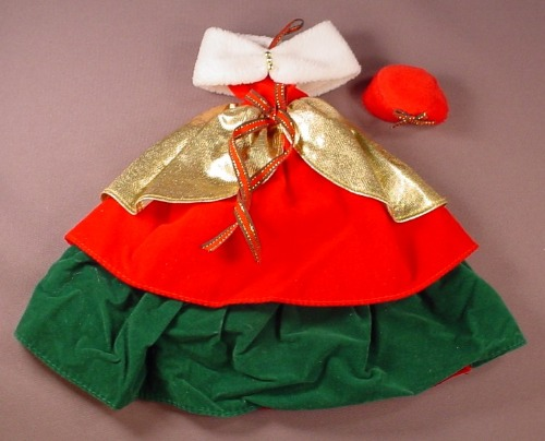 Barbie Doll Size Christmas Gown Or Dress With A Red Hat, Faux Fur Wrap, Gold Red & Green