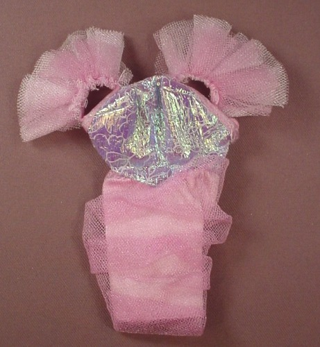 Barbie Doll Size Pink & Lilac Dress With A Sheer Ruffled Over Skirt & Ruffle Shoulders