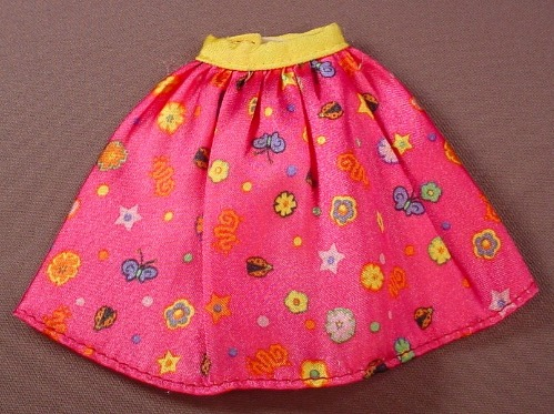 Barbie Doll Size Dark Pink Skirt With A Yellow Belt & A Flower Print