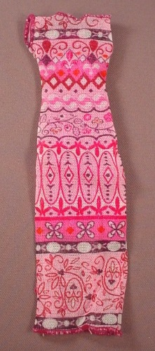 Barbie Doll Size Form Fitting Long Dress With A Glittery Print