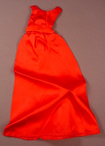 Barbie Doll Size Long Red Satiny Dress Or Gown With A Belted Waist