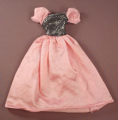Barbie Doll Size Pink Dress With Puffy Sleeves & A Black And Silver Top