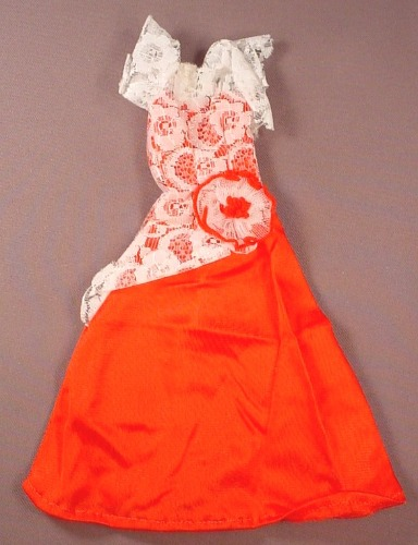 Barbie Doll Size Red Dress Or Gown With A White Lace Top & Sleeves