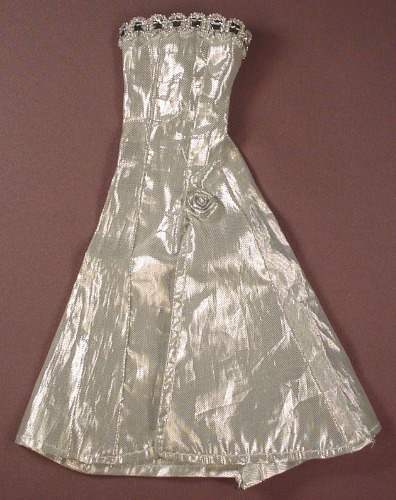 Barbie Doll Size Silver Long Dress Or Gown With A Rosette & Sequin Style Trim