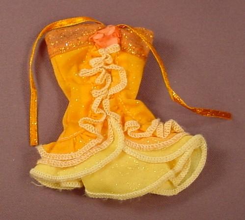 Barbie Doll Size Orange & Yellow Mini Dress With Ruffles & Straps