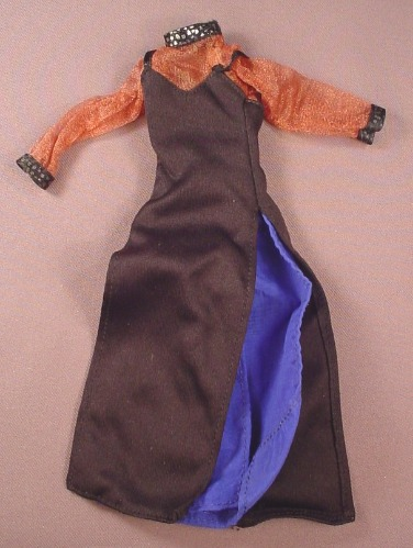 Barbie Doll Size Black & Blue Multi Layer Dress With Hip High Slits & A Sheer Brown Top