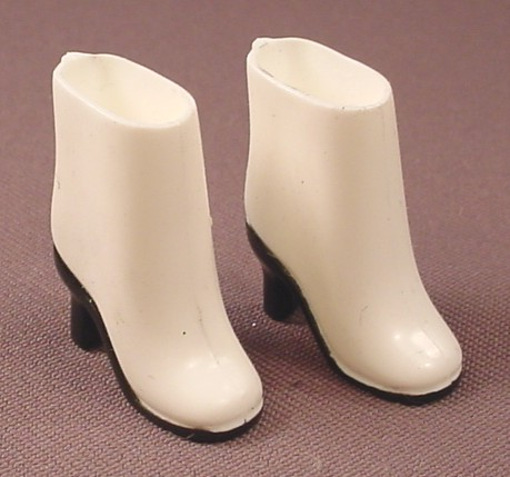 Barbie Doll Size White & Black Victorian Style Shoes Or Boots, Soft Vinyl