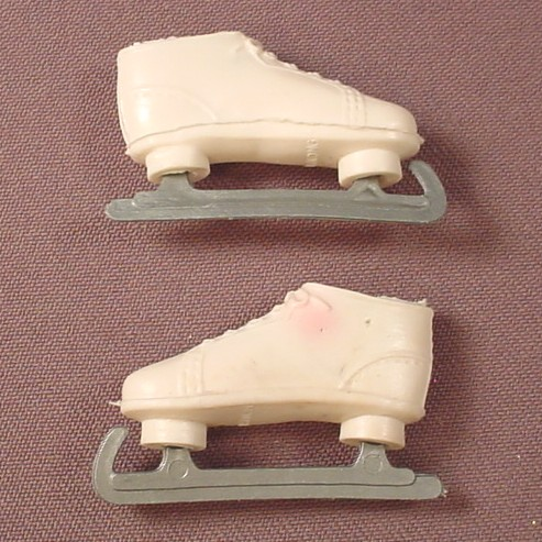 Barbie Doll Size Vintage White Speed Skates, Ice Skates, One Has Pink Paint Transfer