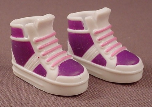 Barbie Doll Size Pair Of Purple And White Sneakers Or Runners