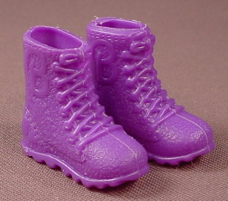 Barbie Doll Size Pair Of Purple Hiking Boots