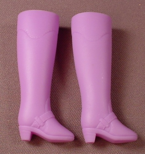Barbie Doll Size Pair Of Tall Purple Riding Boots, Soft Vinyl Or Rubber, Violet Or Lilac