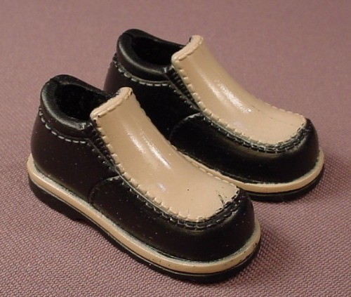 Barbie My Scene Pair Of Ken's Black & Tan Loafer Shoes, Slotted Back
