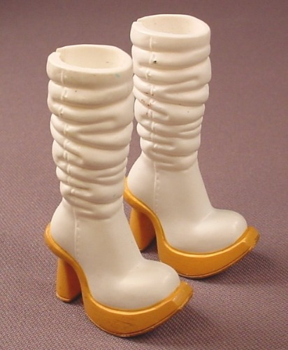 Barbie My Scene Pair Of Tall White Boots With Tan Soles & High Heels, Slotted Back