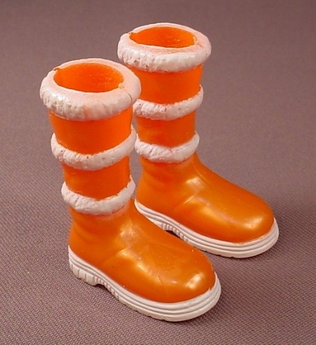 Barbie My Scene Pair Of Orange & White Snow Boots, Slotted Back