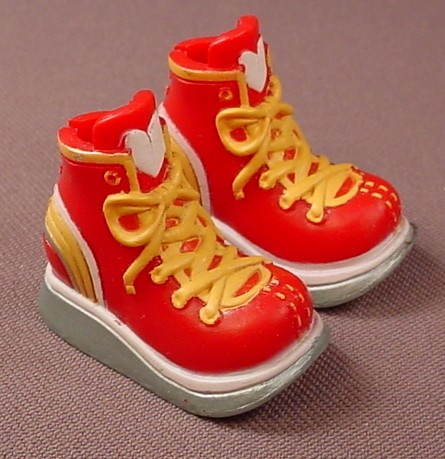 Barbie My Scene Pair Of Red Sneakers Or Runners With Yellow Laces, Silver Sole With Holes