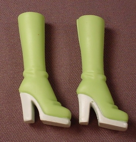 Barbie My Scene Pair Of Lime Green Boots With White Sole & High Heels, Slotted Back