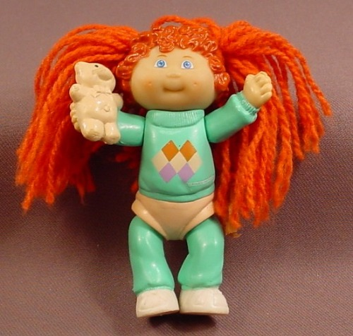 Cabbage Patch Kids Poseable Girl Figure With Red Yarn Hair Holding A Teddy Bear Aqua Outfit Rons Rescued Treasures,Potato Bread