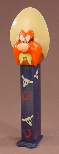 Pez Looney Tunes Yosemite Sam, Pez Candy Dispenser, Dark Blue Stem With Cow Skulls & Horseshoes