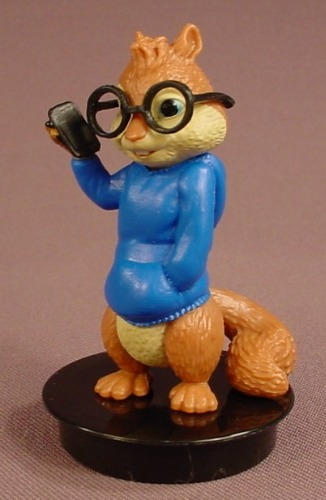 Alvin & The Chipmunks Movie Simon PVC Figure On A Black Round Base, 2 7/8 Inches Tall