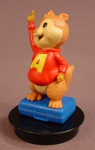 Alvin & The Chipmunks Movie Alvin With A Raised Hand PVC Figure On A Black Round Base, 3 Inches Tall