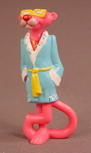 The Pink Panther In A Light Blue Robe & Sunglasses PVC Figure, 3 Inches Tall, 1989 U.A. Pictures