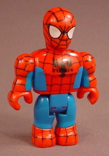 Mega Bloks Spiderman Figure, Lego Duplo Size, 3 1/8 Inches Tall, Bends At The Waist